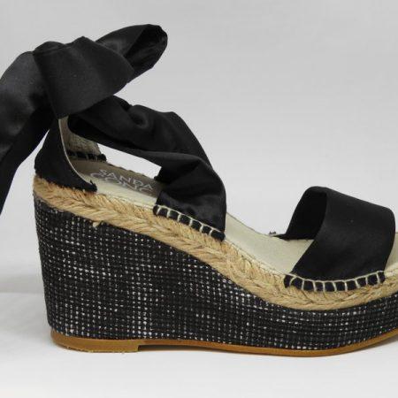 espadrille femme ruban satin noir sandales concha luzespadrille
