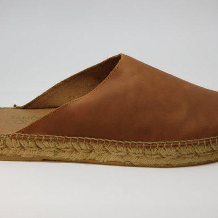 espadrille homme mule en cuir camel sandales concha luzespadrille