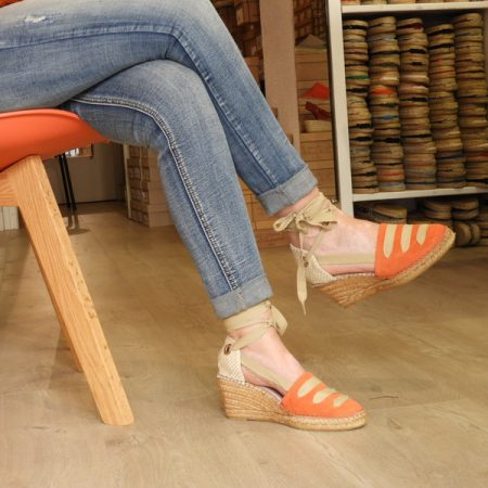espadrille bohemia a lacet orange
